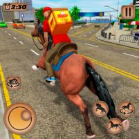 Mounted Horse Riding Pizza Guy: Food Delivery Game  APK Mod